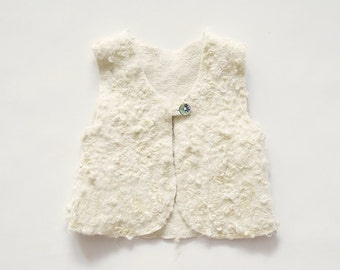 Felt Sherpa vest for girls - felt clothing - wool vest - fall clothing
