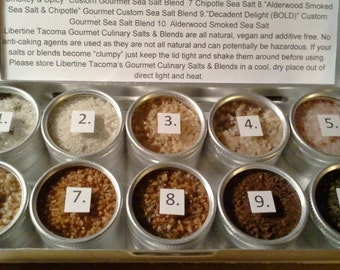10 Tins Grilling Flavors Gourmet Culinary Salts & Blends Sampler