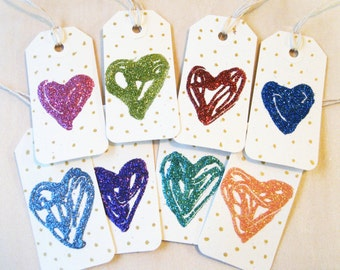 Sparkle Heart gift tags - set of 8