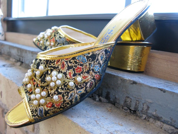 Vintage circa 1960's Deadstock Adorned Brocade Gold and Black Sandals Slippers Shoes