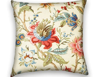 Decorative Pillow Cover 18x18 or 20x20 or 22x22 Floral Throw Pillow --Green, Red, Blue, Pink and Cream