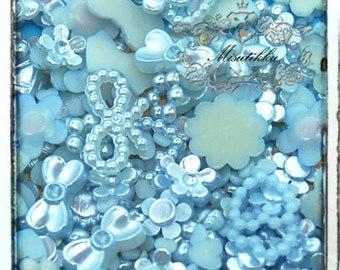 120 PCS X Mix Assortment Sets Blue Small Size Tiny Pearlized Pearly Mini Heart Pearl Flower Rings Bow Ribbon Cabochon Flat back (GM.ZLM12)