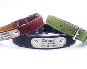 Laser Engraved Personalized NamePlate Italian Leather Dog Collar
