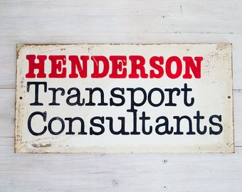 vintage henderson transport consultants wooden sign, from australia