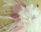 The Pamela Bridal Hair Fascinator Head piece / Corsage / Bridal Hair / Mother of the Bride Corsage / Coral