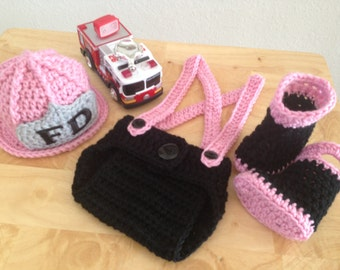 Baby Girl Firefighter Fireman Hat Outfit, 4 pc Crochet Diaper Cover Set w/Susp & Boots, Newborn, 0-3, 3-6, Photography Prop - MADE TO ORDER