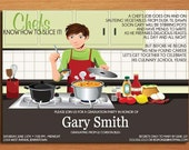 Culinary / Pastry Chef Degree Male Graduation Party Invitation Cards PRINTABLE DIY