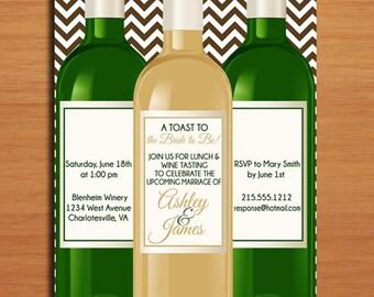 Wine Tasting Bridal Shower Customized Printable Invitations /  DIY