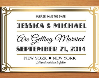 Great Gatsby / Roaring 20's Wedding Save the Date PRINTABLE / DIY