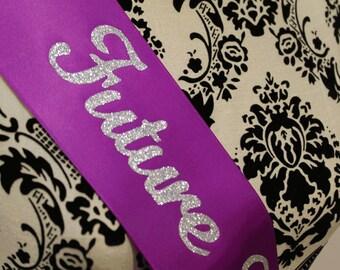 Future Mrs...Bride Bachelorette party sash - personalized - all silver glitter
