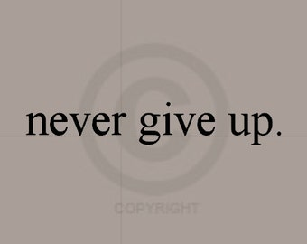 never give up. - Vinyl Wall Art