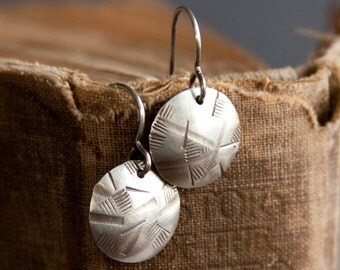 Oxidized Sterling Earrings - Round Silver Earrings - Sterling Domed Circle Textured Simple Metal Jewelry |EC3-11