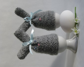Easter bunny egg cozy - grey hand knitted with bows - set of 2