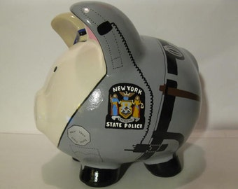"Police Piggy Bank, Personalized, Police State Trooper ""Pigs"" Piggy  Banks - Large - MADE TO ORDER"
