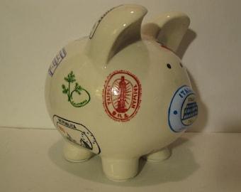 Travel piggy bank etsy for Travel fund piggy bank