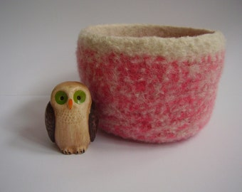 felted wool bowl pink and cream container