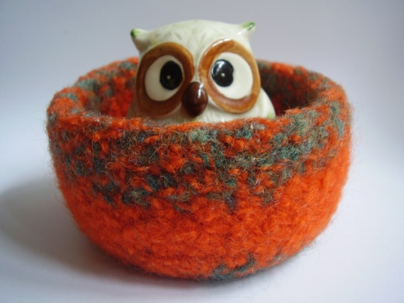 felted wool bowl tangerine and ocean container jewelry holder