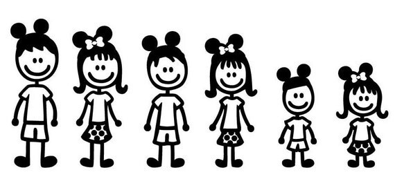 Disney Stick Figure Family Set Of 3 By Sweetserendipityshop