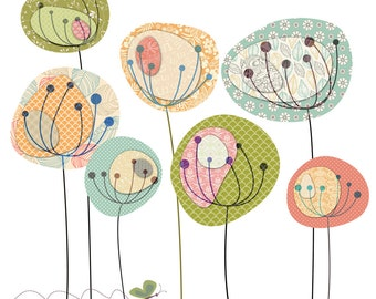 Dandelion Fields Digital Clip Art Set - Personal and Commercial Use