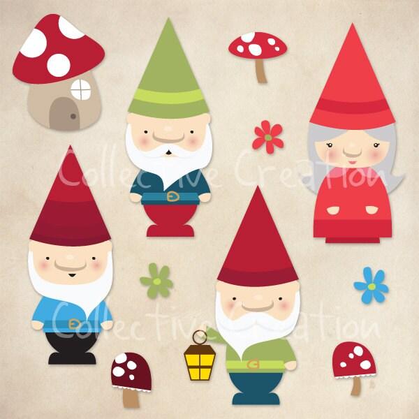 Gnome Clip Art: Gnomes And Mushrooms Digital Clip Art Set By