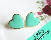 Turquoise Heart Earrings Stud Gold Post Aqua Hearts Blue Mint Green Heart Earrings Wedding Bridesmaids Gift Bridal Jewelry FREE SHIPPING