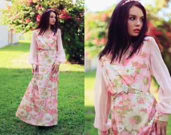60s Pink Floral Shimmer Glitter Siren Maxi Dress