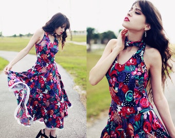 70s Colorful Floral Impressionism Print Halter Dress