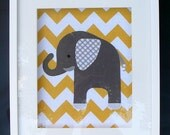 "CHEVRON grey and yellow Elephant made from fabric to fit 8""x10"" frame."