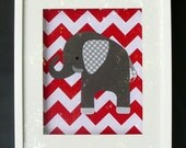 """CHEVRON grey and red Elephant made from fabric to fit 8""""x10"""" frame."""