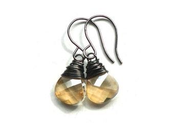 Light Topaz Crystal Earrings - Black and Gold Handmade Jewelry - Gift Idea