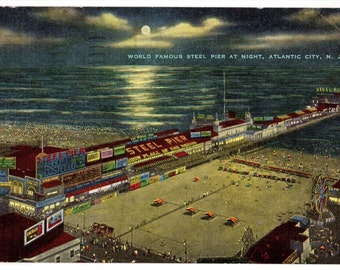 "Antique Vintage Postcard ""World Famous Steel Pier at Night, Atlantic City, New Jersey"" 3.5"" x 5.5"" Estimated Date: 1950s"
