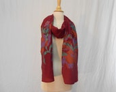"""Maroon Tropical Floral Hand Painted Cotton Wrap / Extra Long Scarf Shawl 84 x 10"""""""