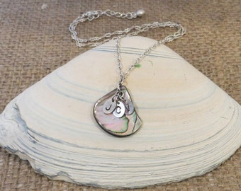 Monogrammed Intital Hand Stamped Silver Necklace with Abalone Pendant