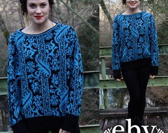 Vintage 80s Black Blue Floral Sweater Jumper S M L Vintage Sweater Vintage Jumper Vintage Knit Oversized Sweater Oversized Knit