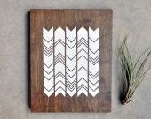 Hanging Wood Wall Art - Geometric Chevron Screenprint - 11x14