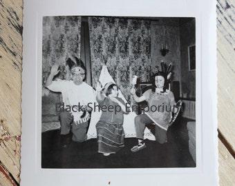 Vintage Photo Indian Dress-up time, Photography, Paper Ephemera, Antique, Snapshot, Old Photo, Black and White