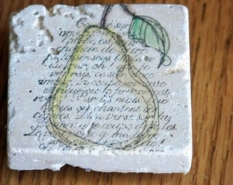 magnet, natural stone, tumbled tile  -french script and pear design