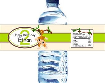 Monkey Theme Water Bottle Labels, Waterproof and self stick