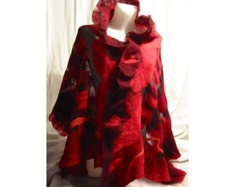 Red and black Nuno  Felt Wrap shawl-handmade, OOAK