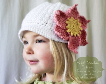 Crochet Pattern: The Ginny Cap -Toddler, Child, & Adult Sizes- brim, large flower, magnolia