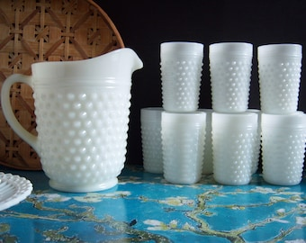 Hobnail White Milk Glass Pitcher and 10 Tumblers - Milk Glass Pitcher - Milk Glass Tumbler - Hobnail Milk Glass Pitcher - Hobnail Milk Glass