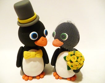 Penguin Wedding Cake Topper - Choose Your Colors