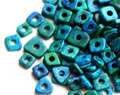 Greek ceramic chip beads - Ocean Teal Blue mix - tiny spacers, washer, mykonos, 5mm - approx.70pc - 0701
