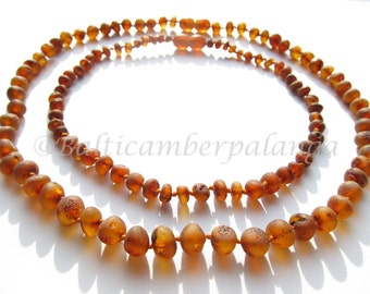 Baltic Amber Baby Teething Set for Baby and Mommy, Raw Unpolished Dark Cognac Color Beads