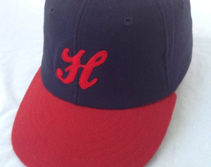 Navy and Red 100% wool flannel Baseball cap, handcut felt H logo, 1940s visor with supple leather sweatband.
