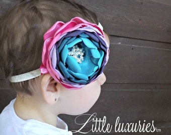 Lucy in the Sky - Aqua, Teal, Purple, Lavender and Pink Satin Ombre Peony Headband, Sparkly Cream Headband, Pearls & Crystals, Hair Flower