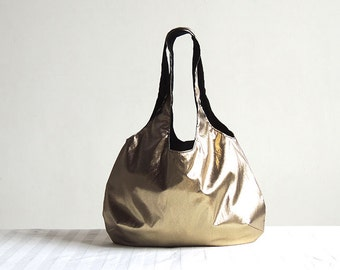 Metallic Gold Hobo Tote Bag - Spring Fashion