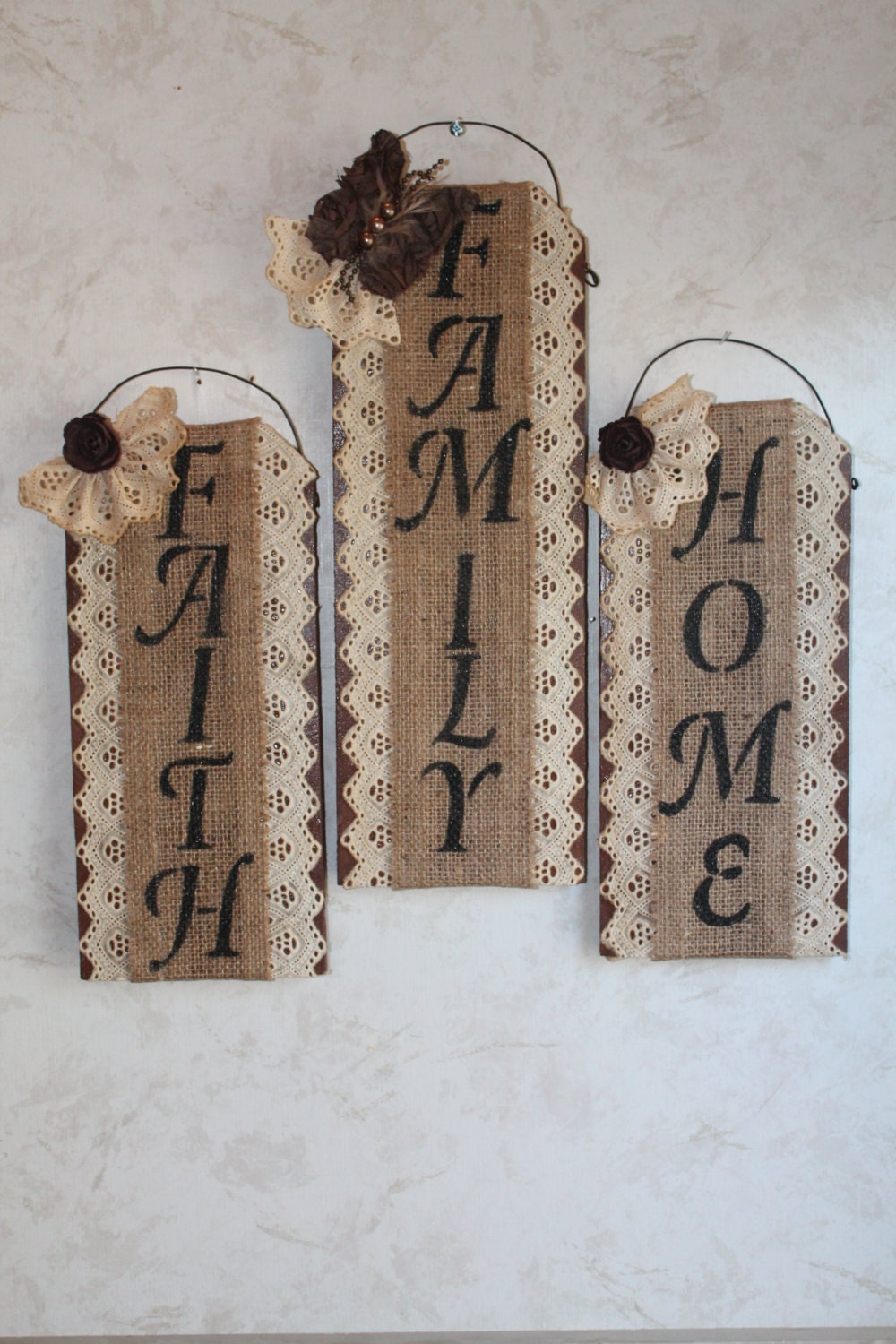 Burlap lace and wall decor set of 3 home family faith Home decoration with jute