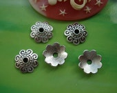 50 pcs 10mm Antique silver small Beads Caps pads Torus G969262