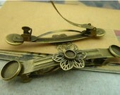 2 pcs 90x20x13mm Antique Bronze Brass flowers Hair Clips Bobby Pin Hairpins with round bases : middle-6.5mm both sides-12mm fc96993